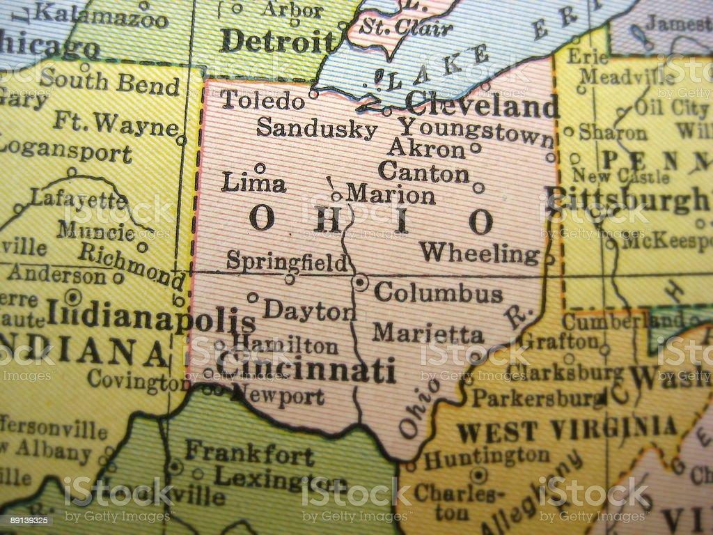 Antique Map Ohio stock photo