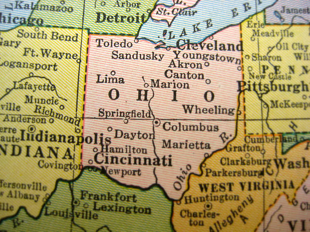 Antique Map Ohio  ohio stock pictures, royalty-free photos & images