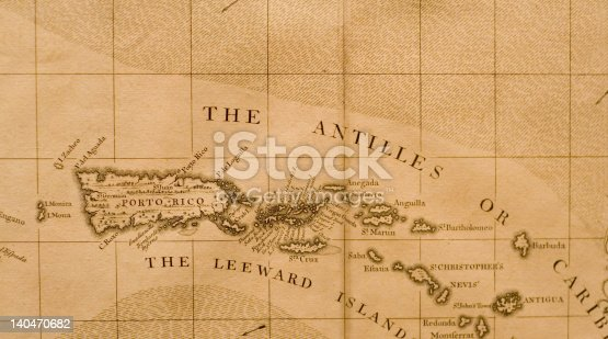 Segment of antique map depicting Puerto Rico, the Virgin Islands, Anguilla, Antigua, etc.