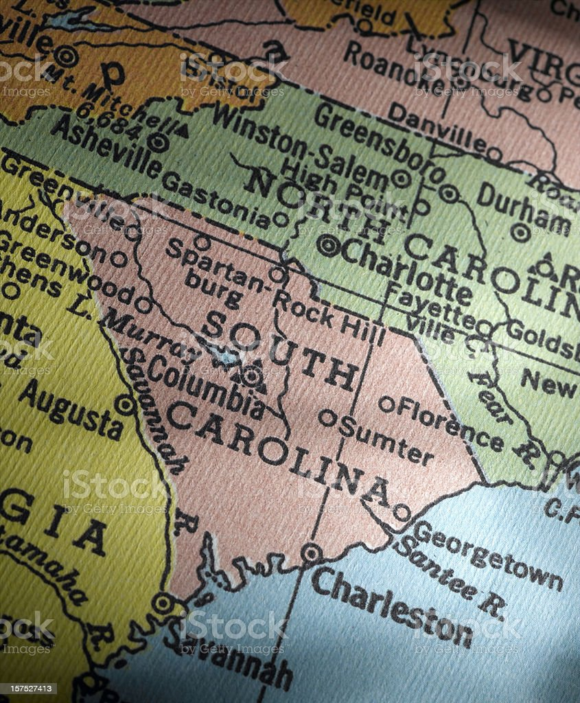 Antique Map South Carolina royalty-free stock photo