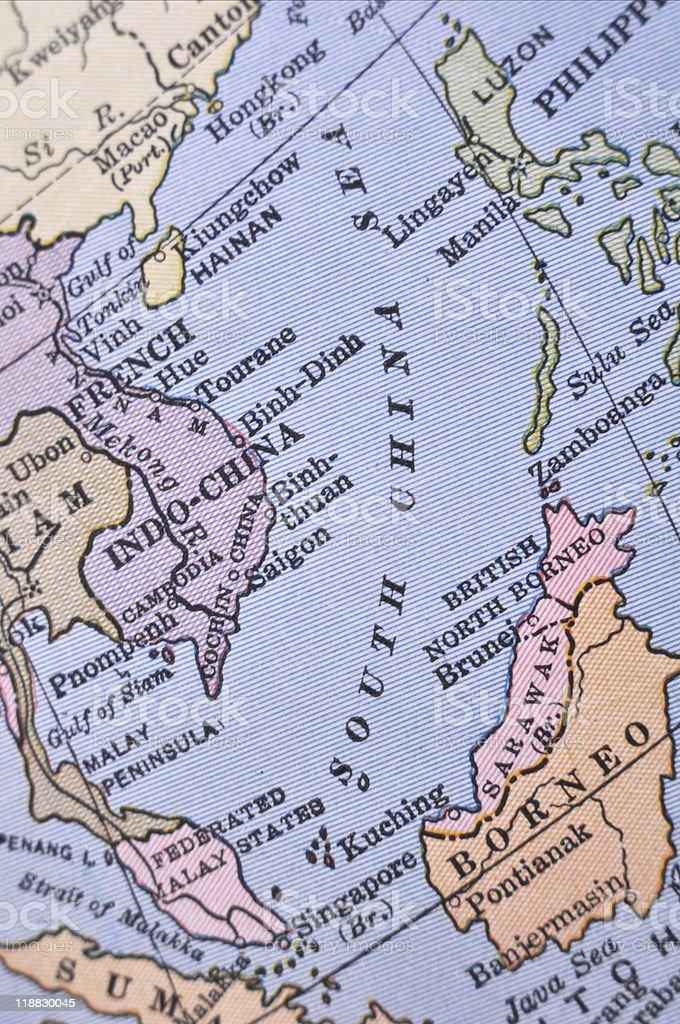 Antique Map South China Sea stock photo