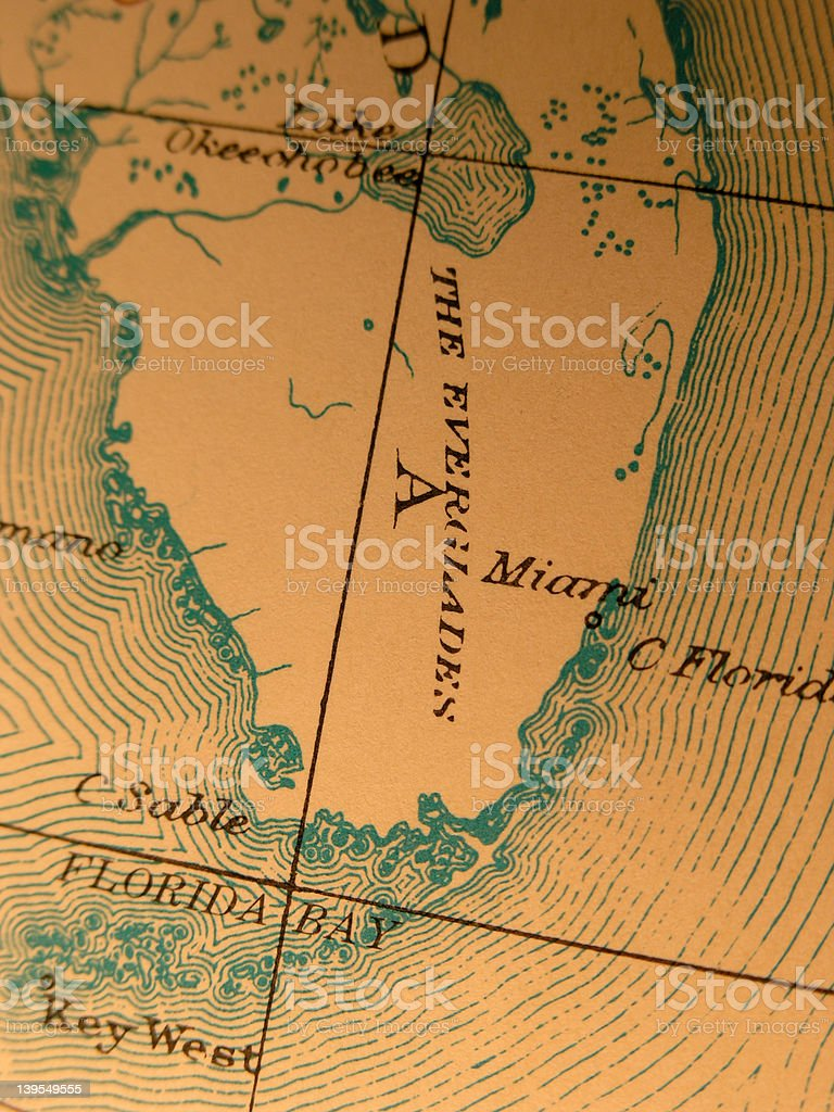 Antique Map South Florida Miami And Everglades Stock Photo IStock - Everglades on us map