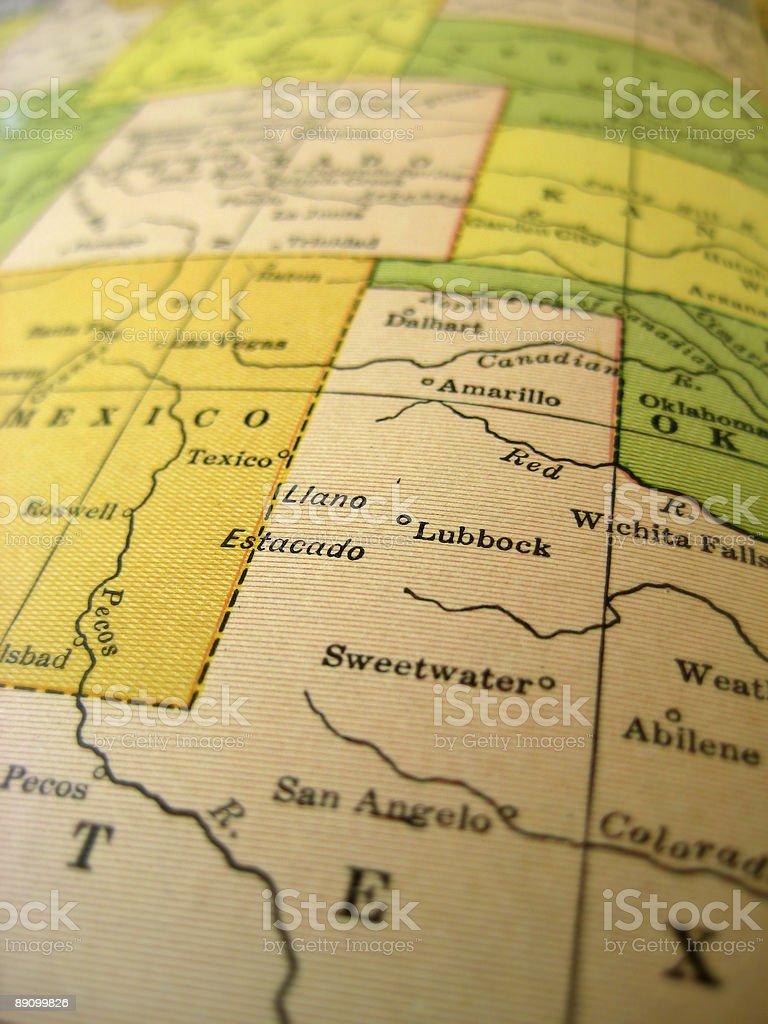 Antique Map Southwest USA royalty-free stock photo