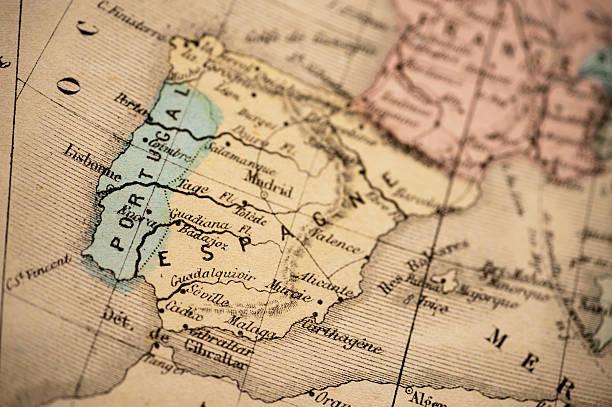 앤틱형 지도/스페인령 포르투칼 1869 - 이베리아 반도 뉴스 사진 이미지
