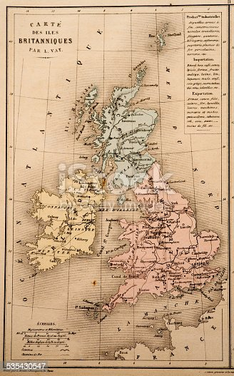 Antique French map of the United Kingdom from Nouvel Atlas Classique c: 1869.