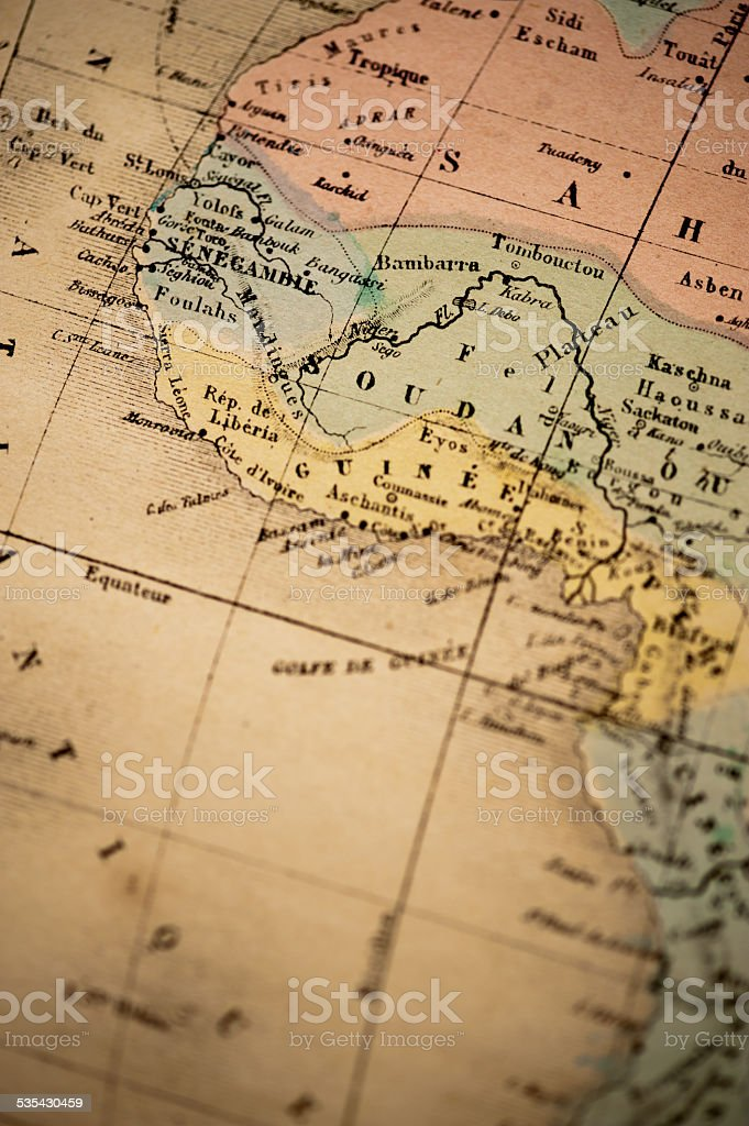 Antique Map | West Coast of Africa stock photo