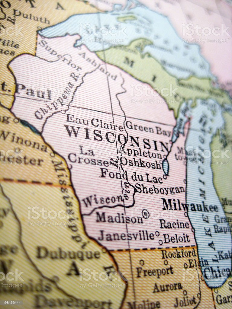 Antique Map Wisconsin stock photo