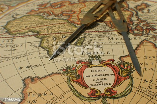 istock Antique map with compass 172662243