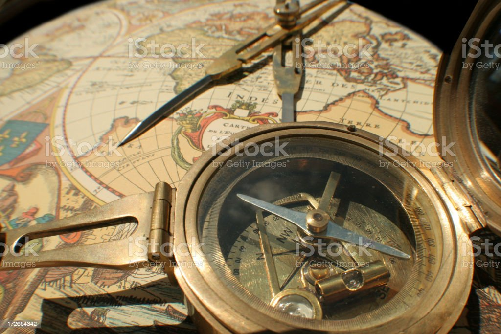 Antique map with compass royalty-free stock photo