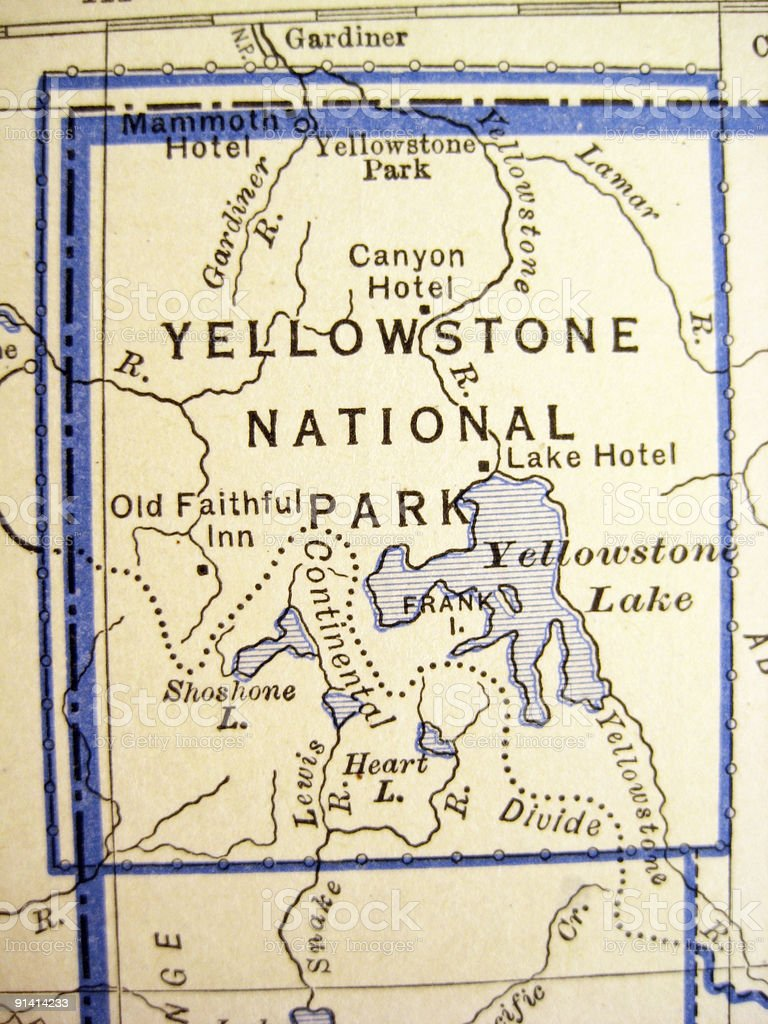 Antique Map Yellowstone National Park stock photo