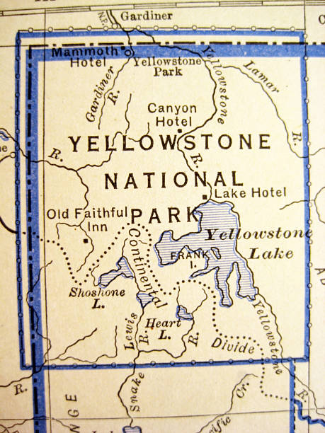 Royalty Free Map Of Yellowstone National Park Usa Pictures, Images ...