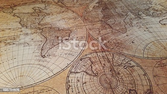 Old Antique Map with old world latitude and longitude lines and Historic Old Map