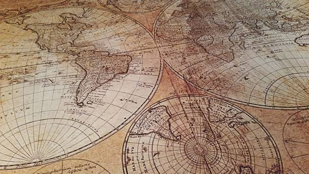 Antique Maps World History on a Map stock photo