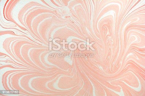 istock Antique Marbled Paper Background, ebru 913870182