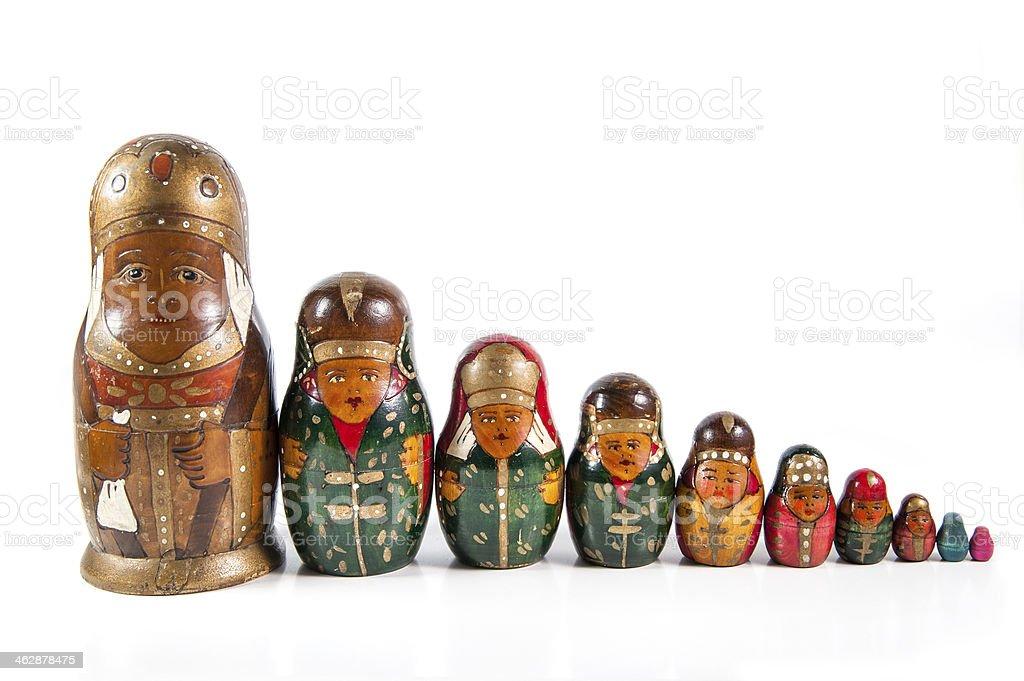 Antique matrioshka dolls stock photo