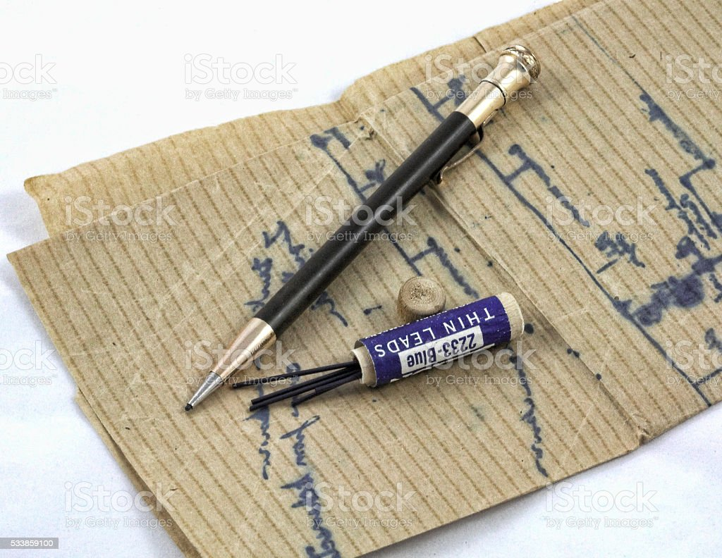 Antique Mechanical Pencil with Lead Refills stock photo
