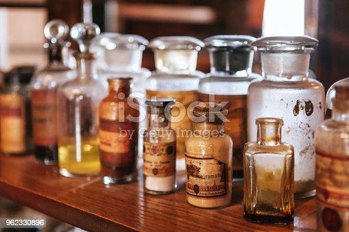 Antique drug bottles.