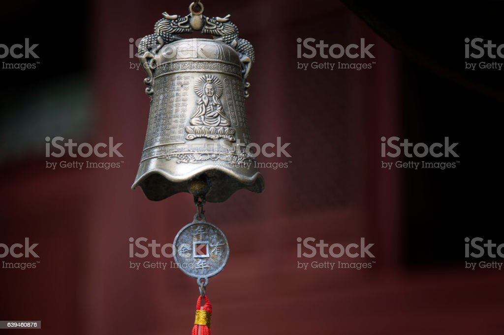 Antique metal bell in a Buddhist monastery, Tibet stock photo
