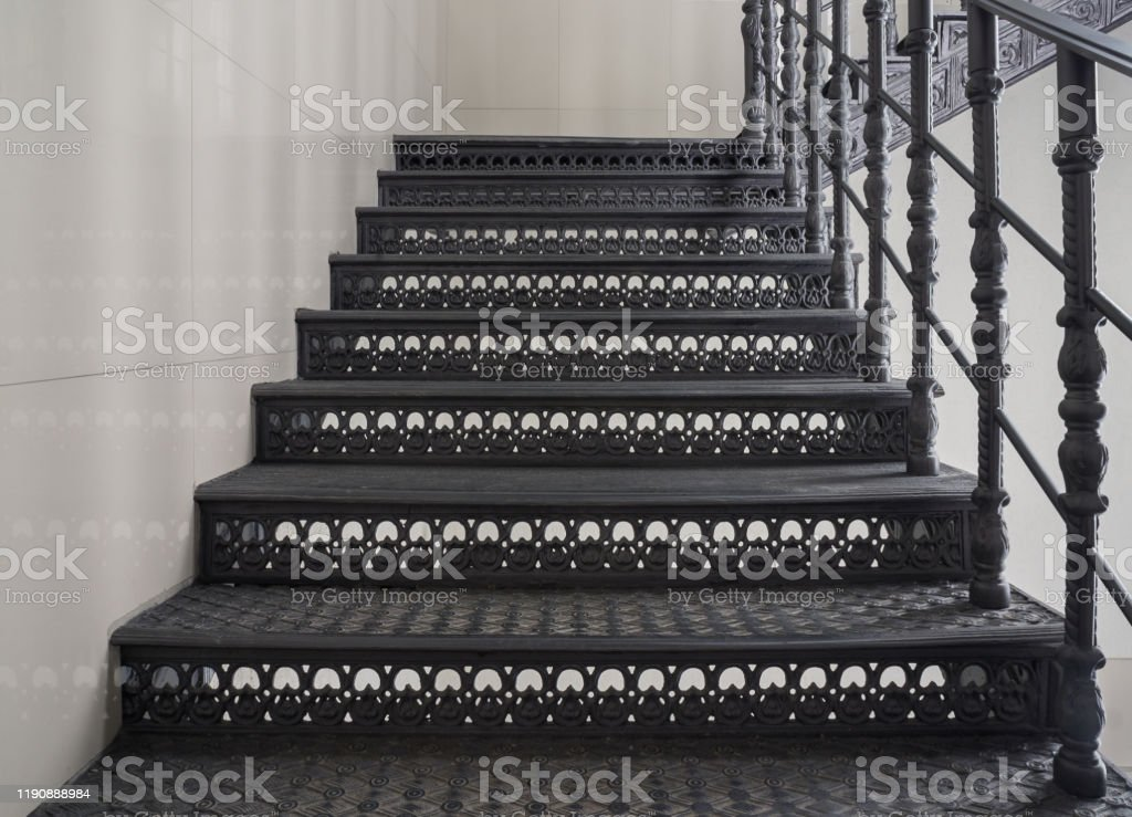 Image of: Antique Metal Staircase With Black Richly Decorated Wroughtiron Steps And Railings Interior Detail In Loft Style Stock Photo Download Image Now Istock