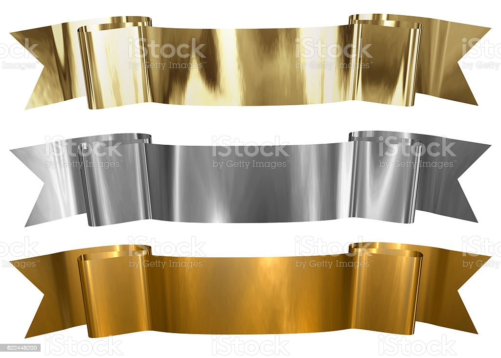 Antique Metallic banners stock photo