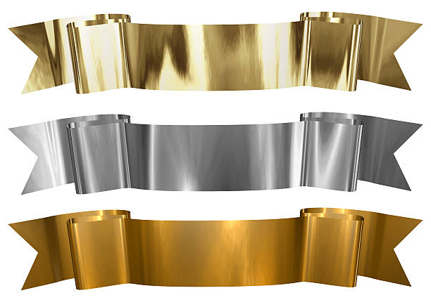 antique metallic banners - award ribbon stock photos and pictures