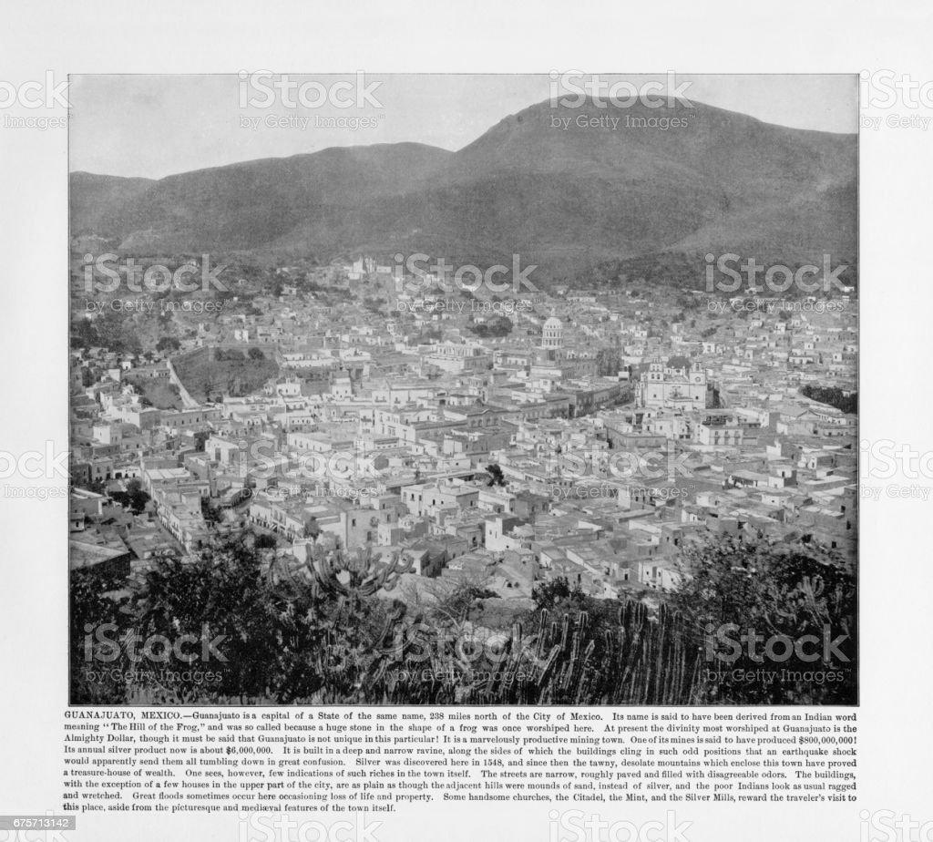 古色古香的墨西哥照片: 瓜納華托,墨西哥 1893 免版稅 stock photo
