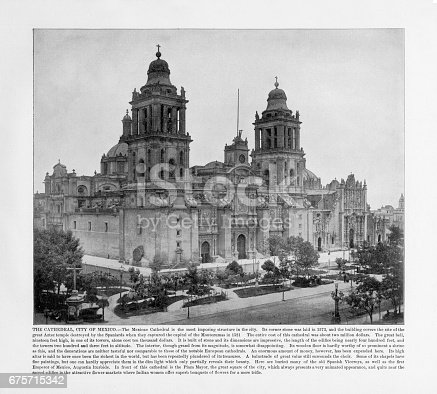 Antique Mexican Photograph: The Cathedral, City of Mexico, 1893: Original edition from my own archives. Copyright has expired on this artwork. Digitally restored.