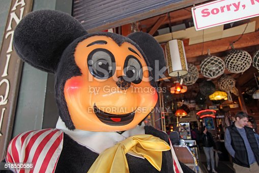Seattle, United States - March 25, 2016: Close up of a life-size, vintage Mickey Mouse statue that stands outside of the Seattle Antiques Market as shoppers find their way inside.