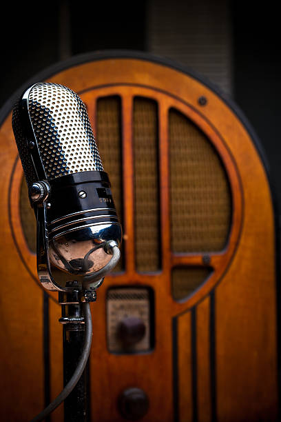 antique microphone and radio - radio station stock photos and pictures