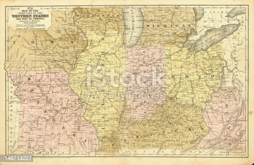 istock Antique Midwest United States Map 146713227