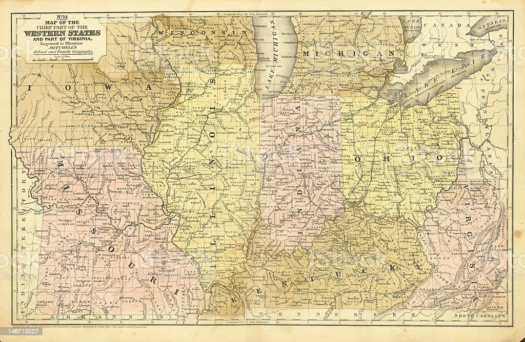 Antique Midwest United States Map stock photo