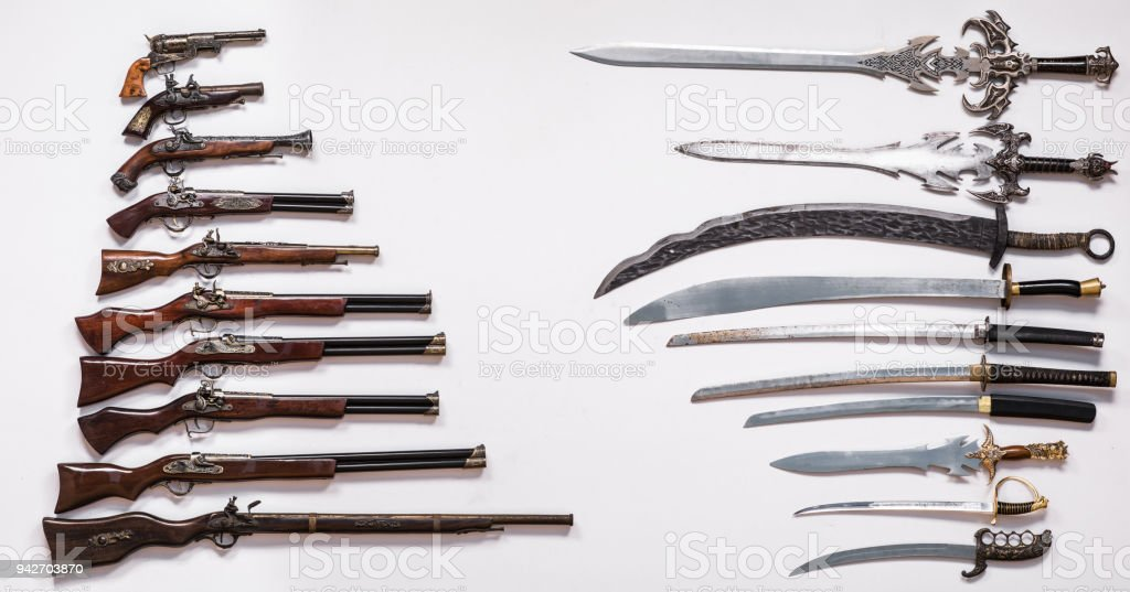 Antique Military Weapons Swords Knives Guns And Pistols