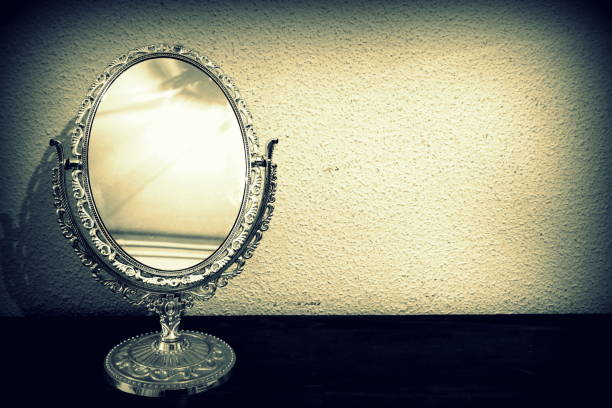 Antique mirror stock photo