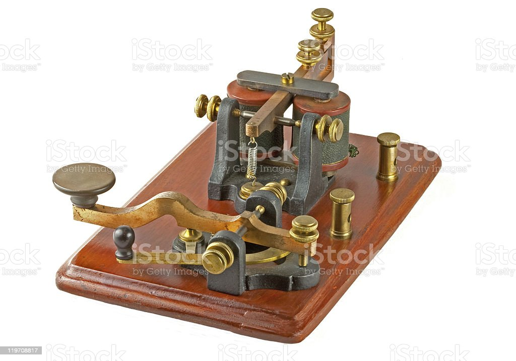 Antique Morse Key stock photo