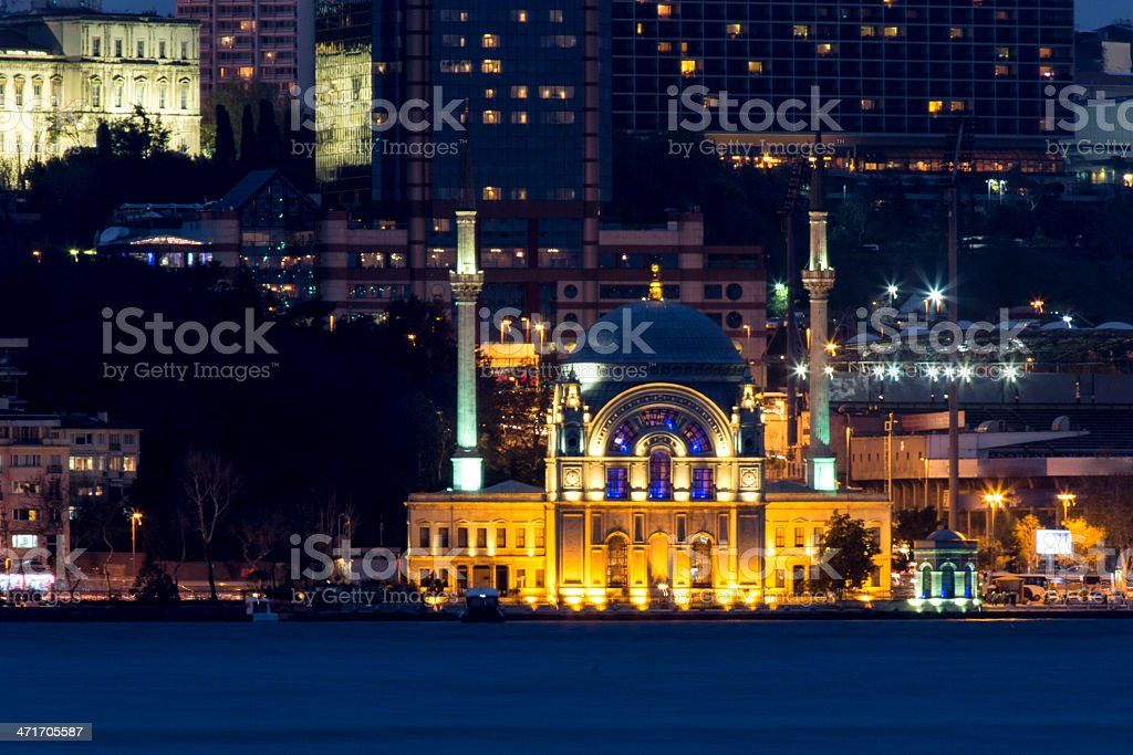 Antique Mosque And Modern Skyscraper In Istanbul stock photo