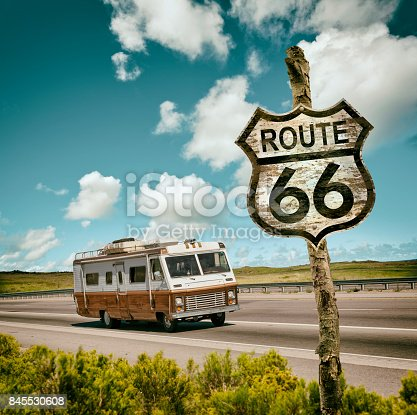 Vintage motor home driving through USA on Route 66
