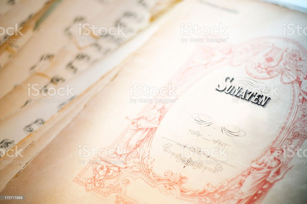 Antique music sheet stock photo