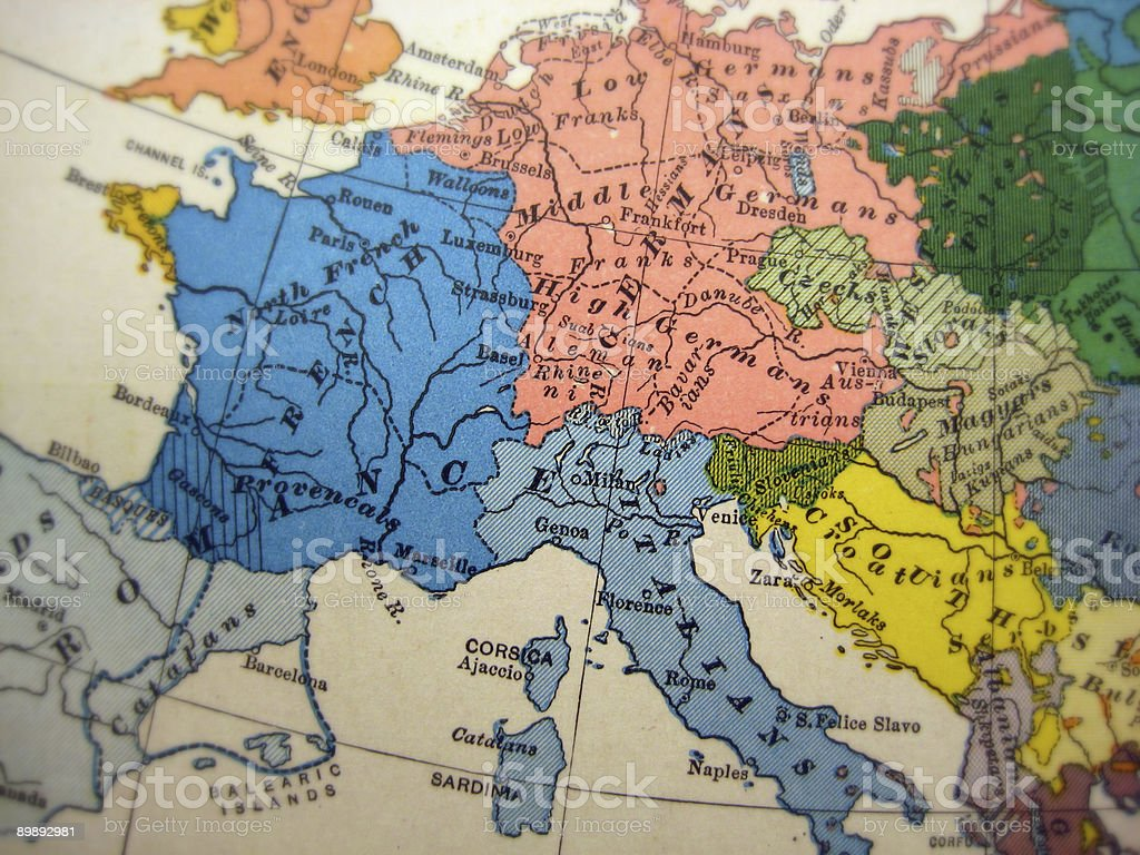 Antique Nationality Map Europe stock photo