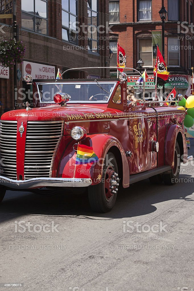 Antique Naval Service Fire Truck in Pride Parade royalty-free stock photo
