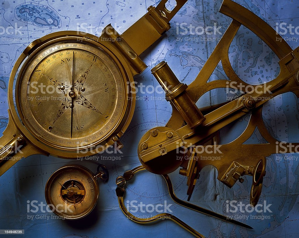 Antique Navigation Instruments stock photo
