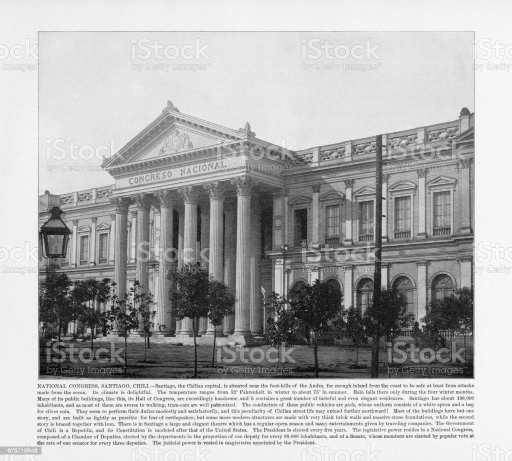 智利古董張新照片: 全國代表大會,聖地牙哥,智利 1893 免版稅 stock photo