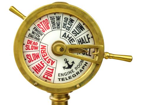 Antique nineteenth century engine room telegraph in gold