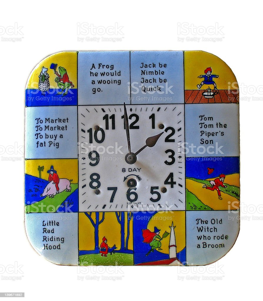 Antique Nursery Rhyme Children's Clock royalty-free stock photo