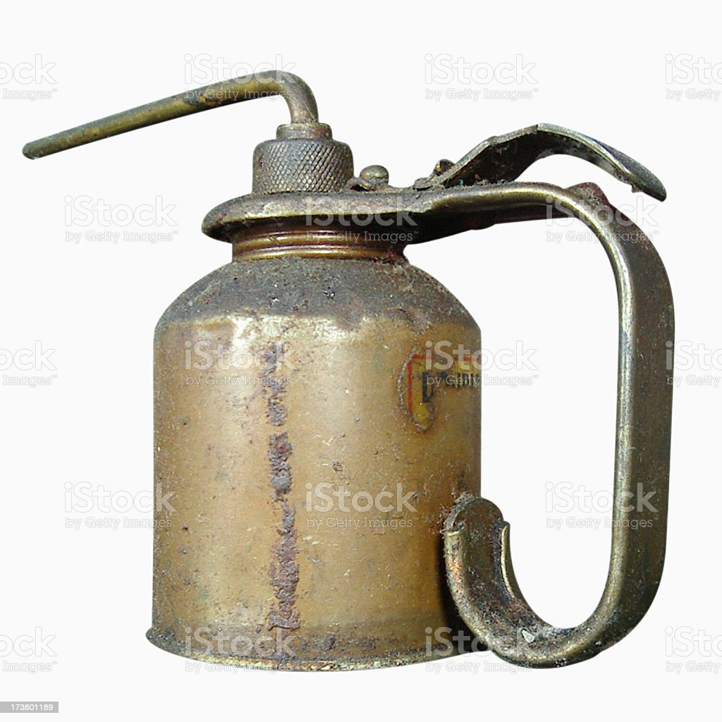 Antique Oil Can (Isolated on White Background with Clipping Path royalty-free stock photo