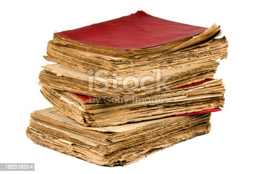 Pile of antique old books on white background. MORE IMAGES...(you can see links to other categories via my main account page-About Me)