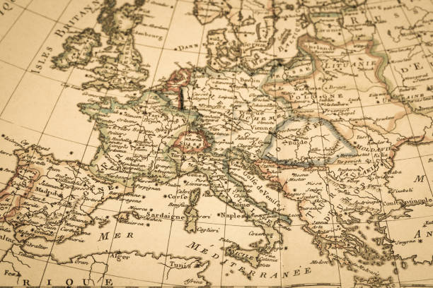 antique old map - europe map stock photos and pictures