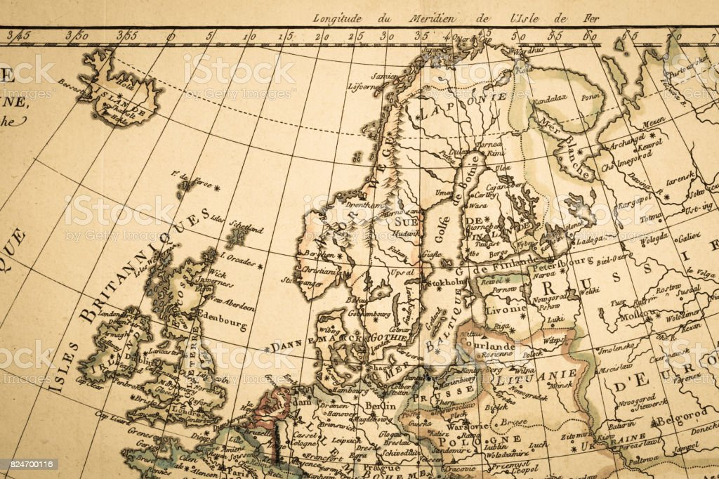 Antique old map stock photo