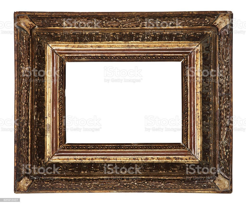 Antique Old Picture Frame Wooden Ceramics Isolated On White stock ...