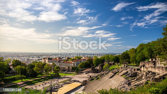 Old ruins of Gallo Roman amphitheater on famous Fourviere hill, in Lyon city during a sunny summer day. Taken in Rhone department, in Auvergne-Rhone-Alpes region in France, Europe.