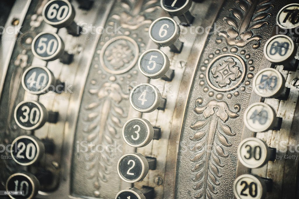 Antique old-fashion steel cash till from early 20th century royalty-free stock photo